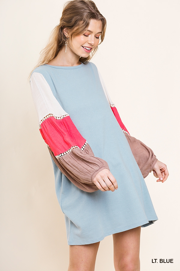 Colorblock Puff Sleeve Knit Dress - orangeshine.com