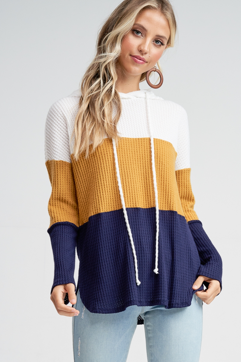 Long Sleeve Color Block Knit Sweater - orangeshine.com