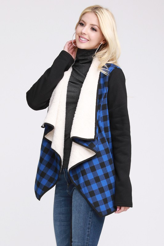 SHERPA LINED DRAPED PLAID JACKET  - orangeshine.com
