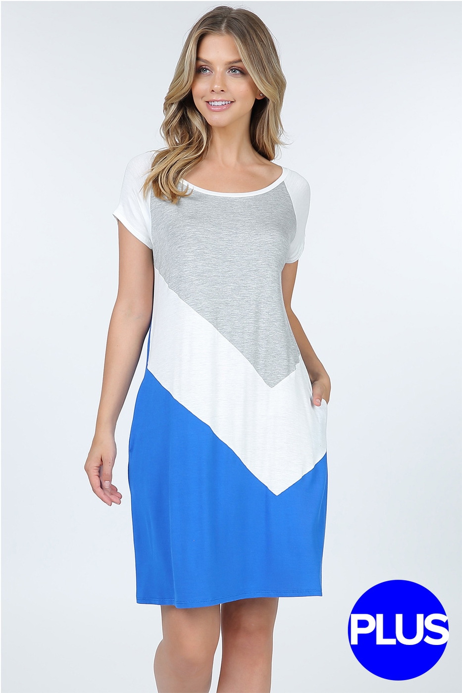Plus Size Color Block Shift Tunic Dr - orangeshine.com
