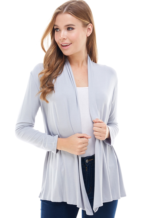 Long Sleeve Open Front Drape Cardi - orangeshine.com