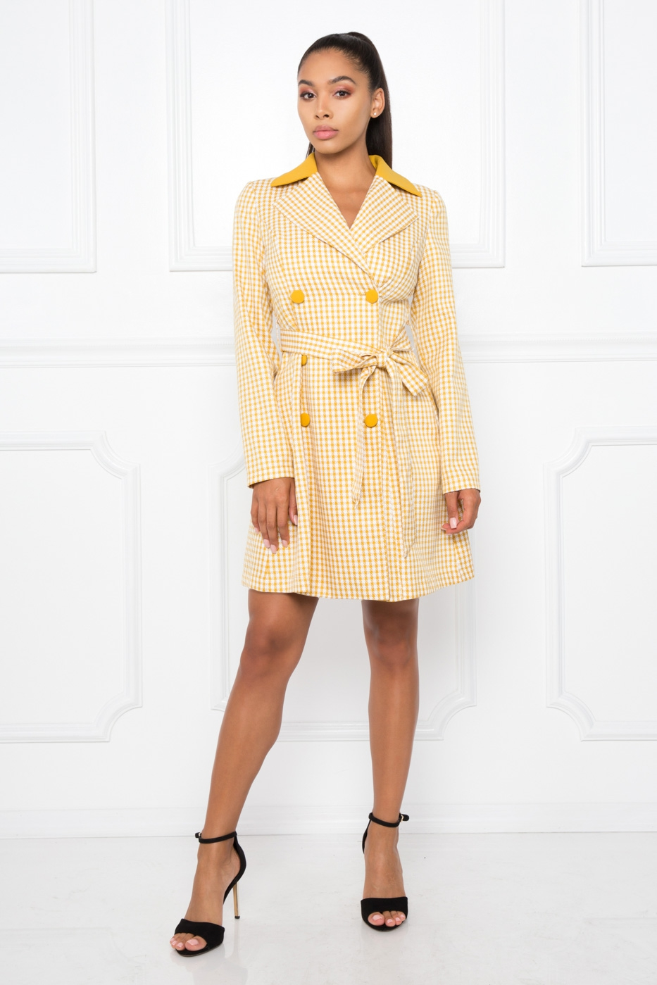 CHECKERED COAT WITH WAIST TIE - orangeshine.com