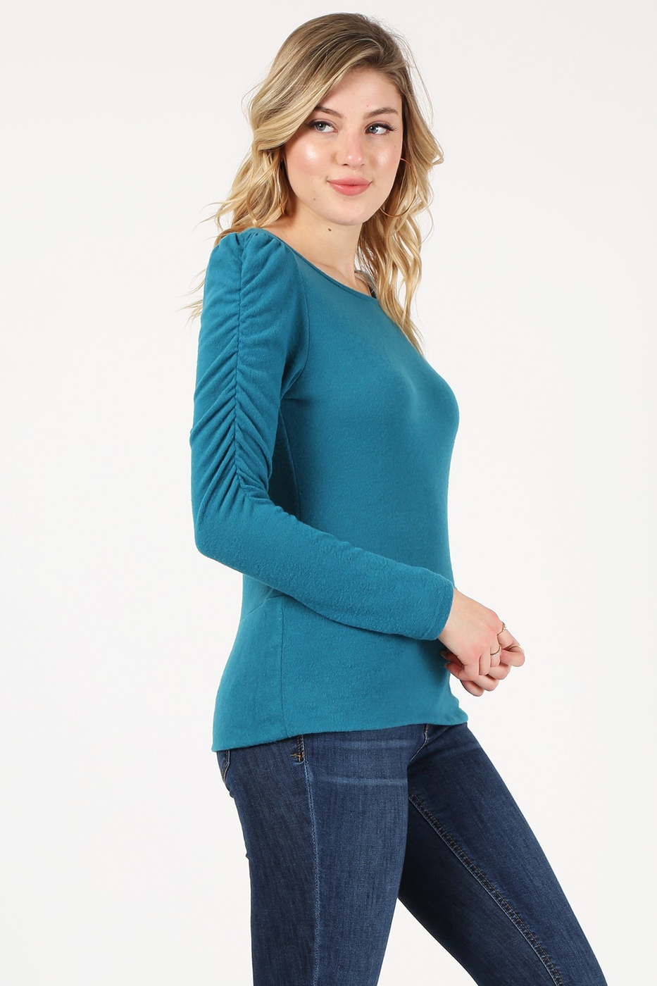 Fitted top with ruched long sleeves - orangeshine.com