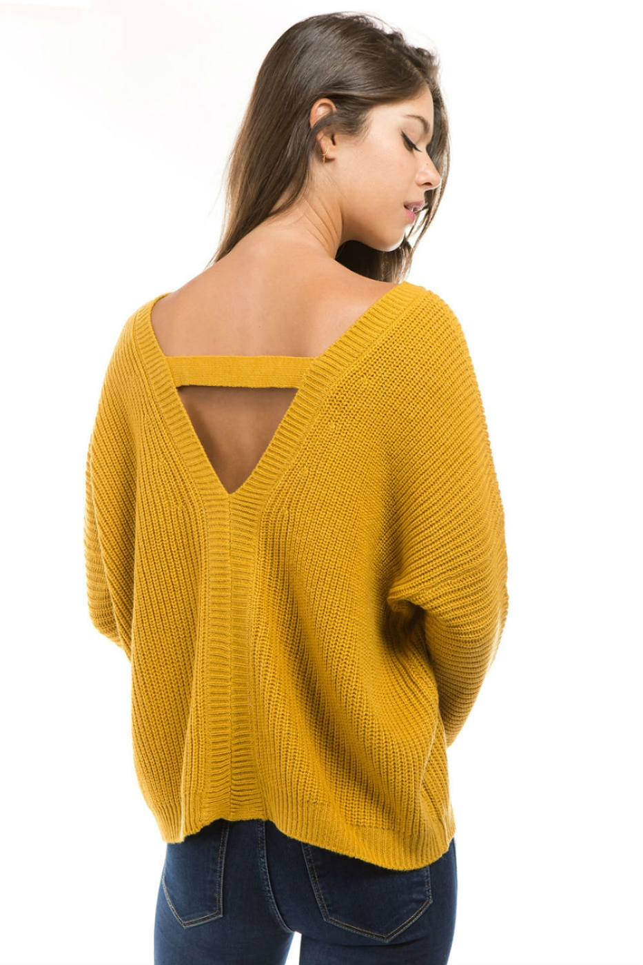 V NECK OPEN BACK SWEATER - orangeshine.com