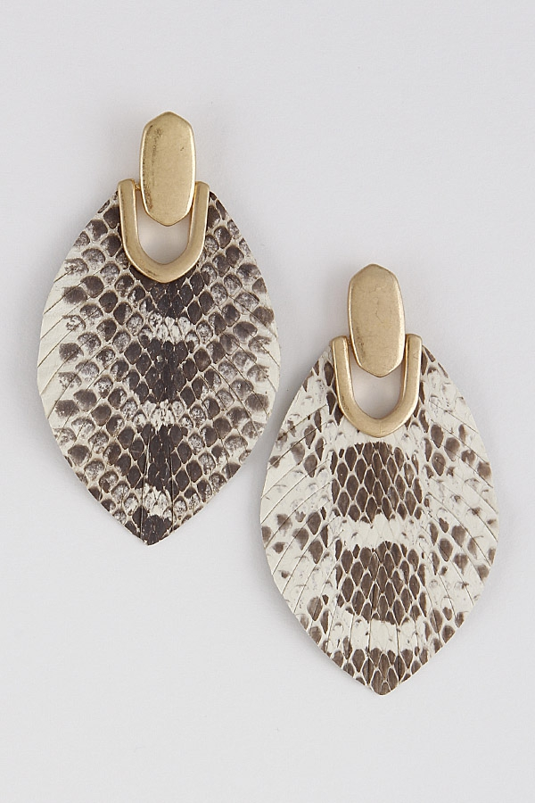 Snakeskin Tasseled Drop Earrings - orangeshine.com