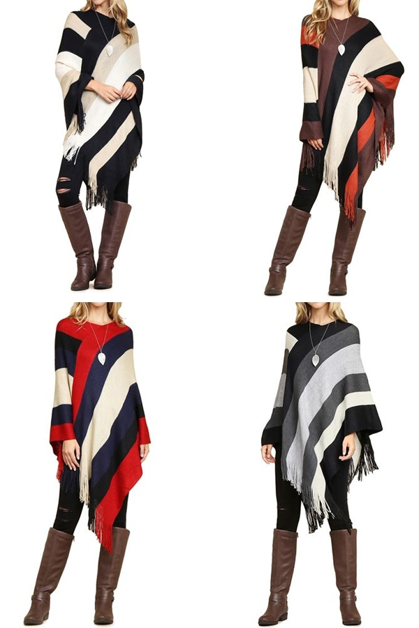 COLOR BLOCK FRINGE PONCHO - orangeshine.com