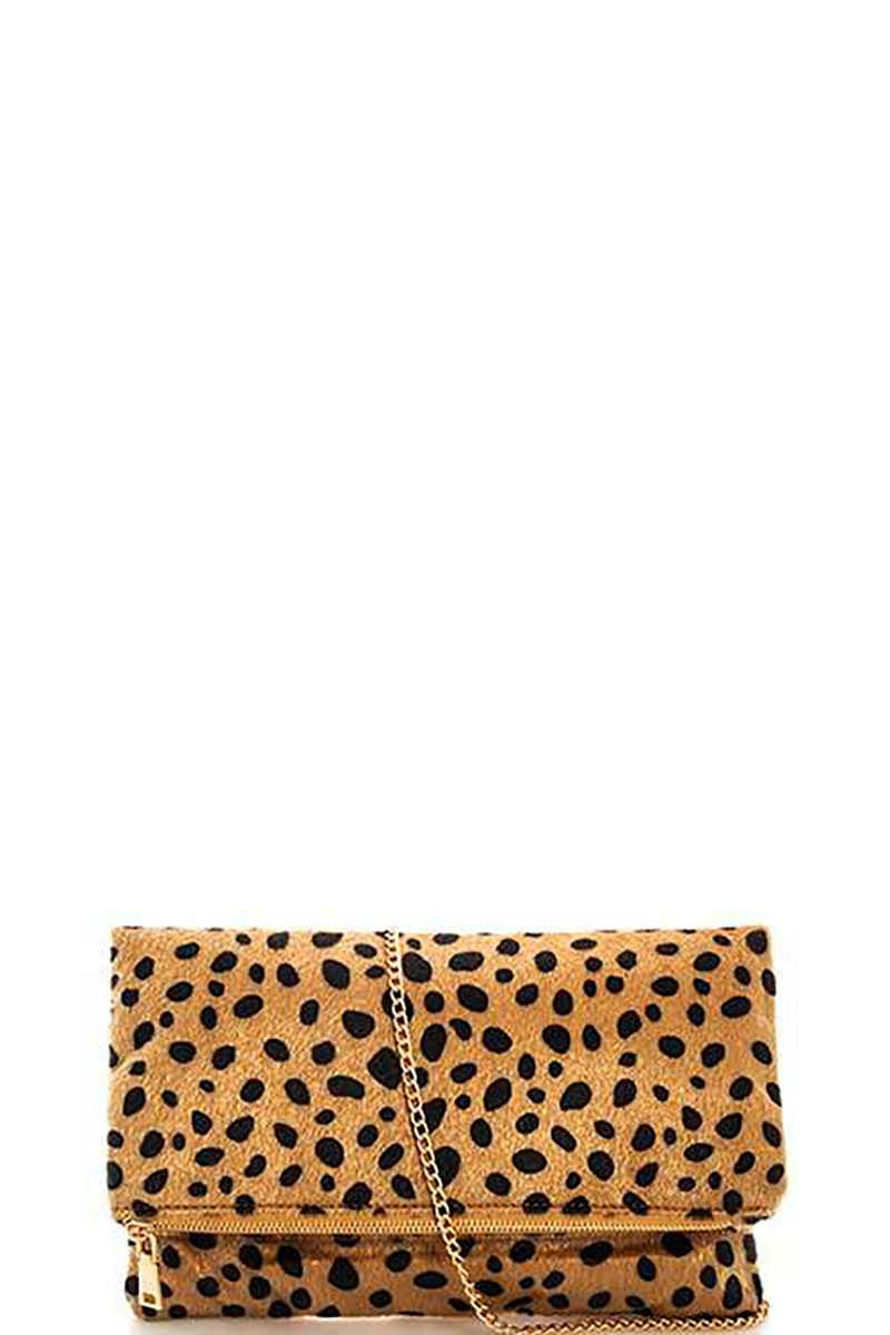 FASHION LEOPARD FUR FOLDOVER CLUTCH  - orangeshine.com