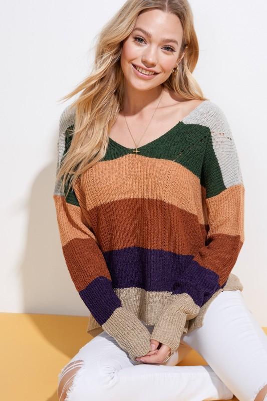 Soft Stripe Sweater  - orangeshine.com
