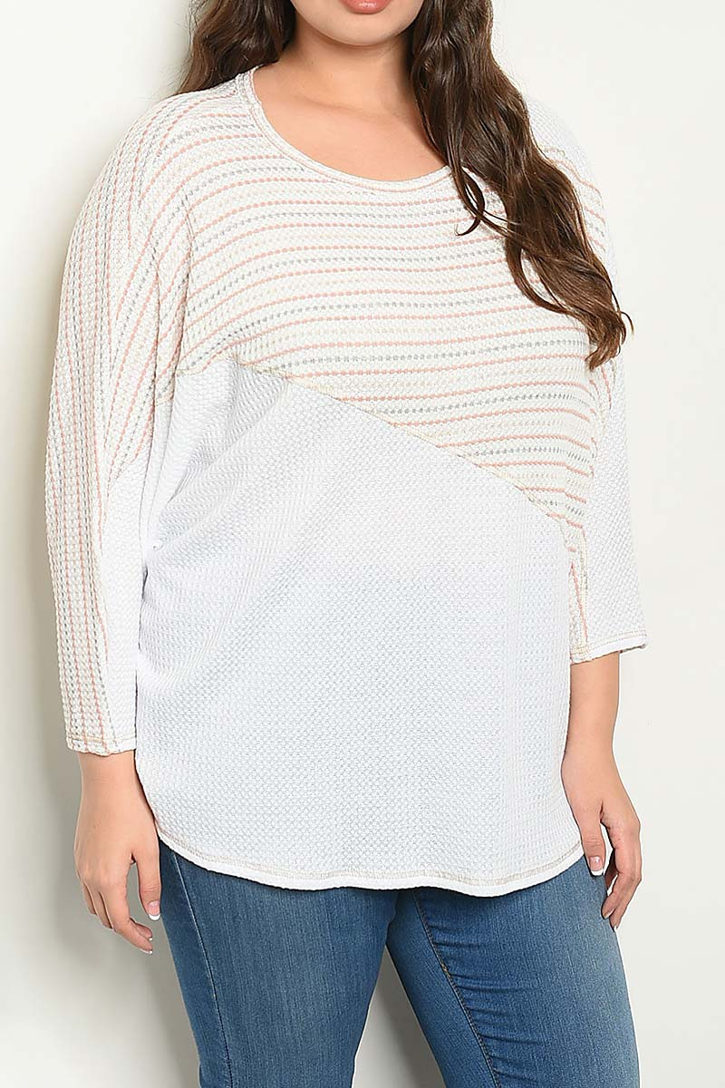 STRIPE CONTRAST COLOR BLOCK PLUS TOP - orangeshine.com