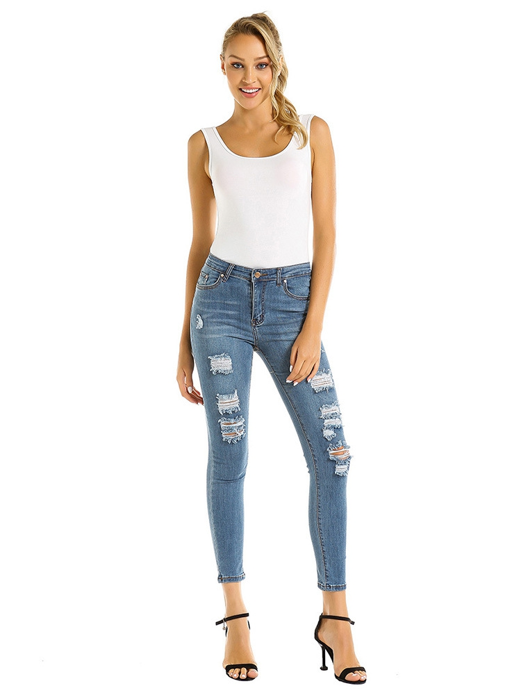 Women broken hole jeans - orangeshine.com