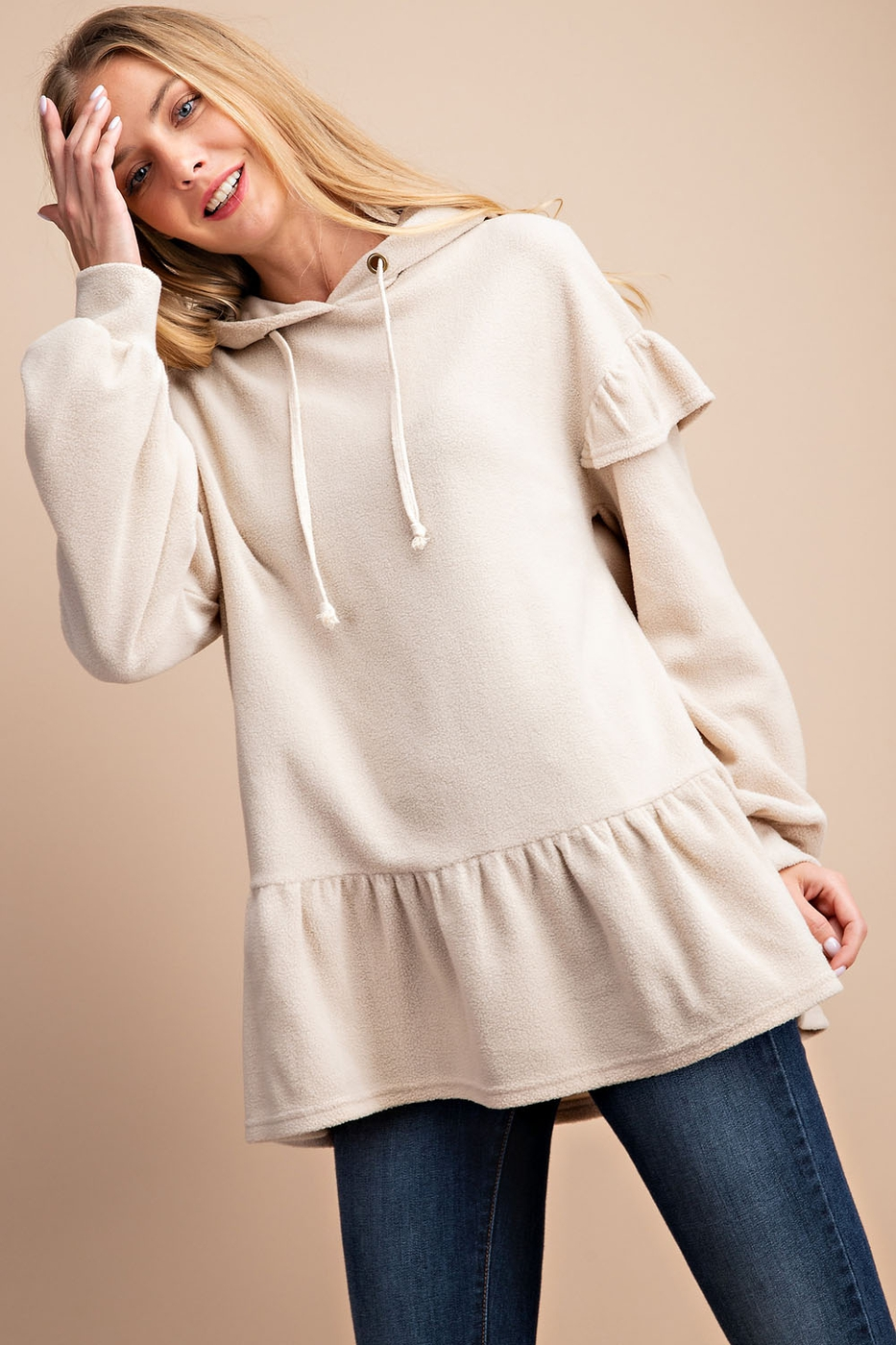 HOODED RUFFLE PULLOVER TOP - orangeshine.com