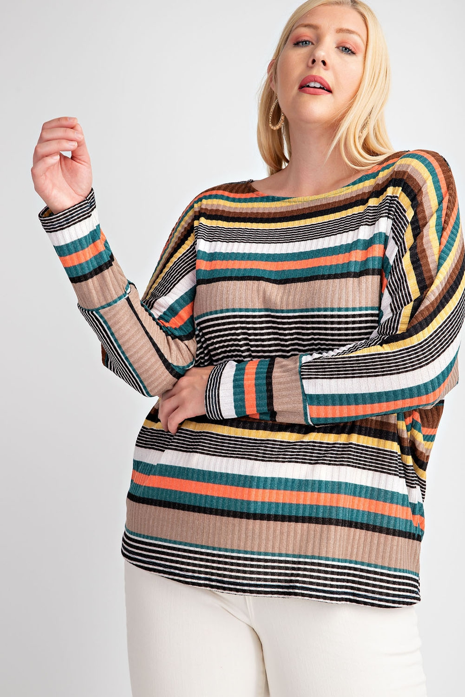 PLUS SIZE DOLMAN MULTI COLOR STRIPE  - orangeshine.com