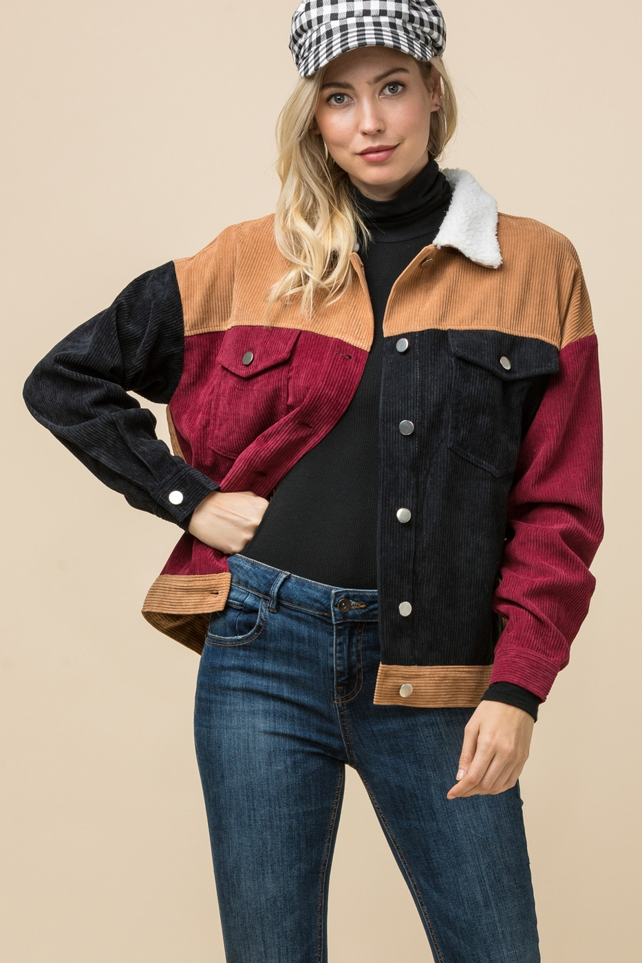 Corduroy color-block jacket - orangeshine.com