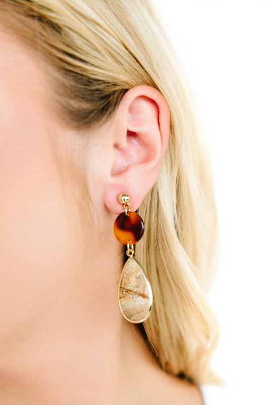 Natural Stone Tortoise Drop Earrings - orangeshine.com
