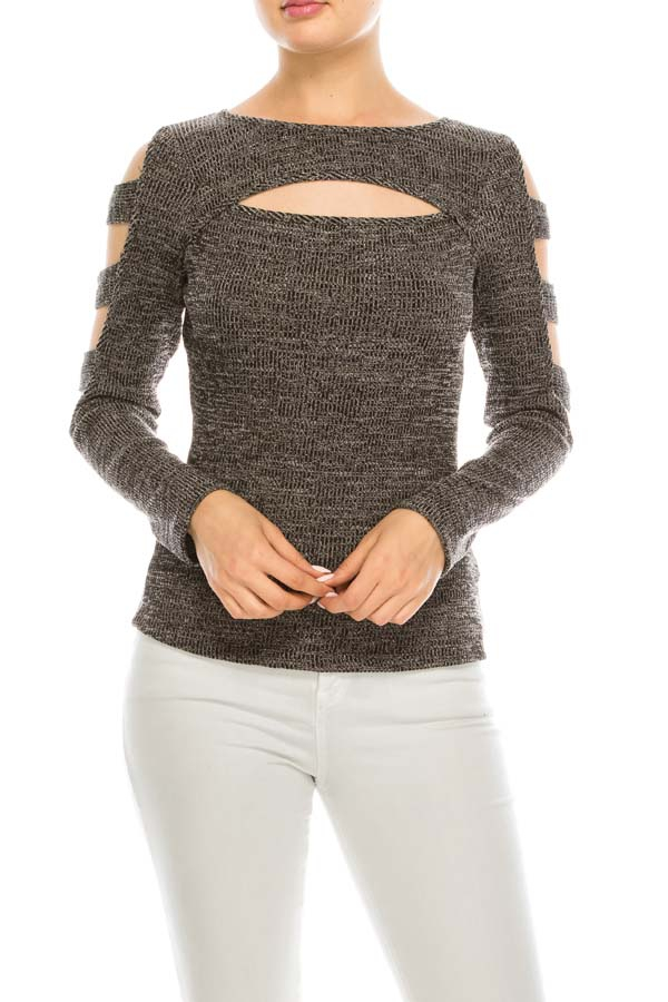 Solid Sweater Knit Cold Shoulder Top - orangeshine.com