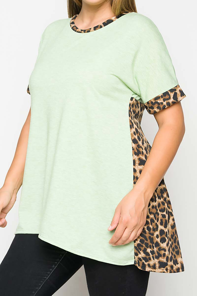COLOR BLOCK ANIMAL PRINT TUNIC TOP - orangeshine.com