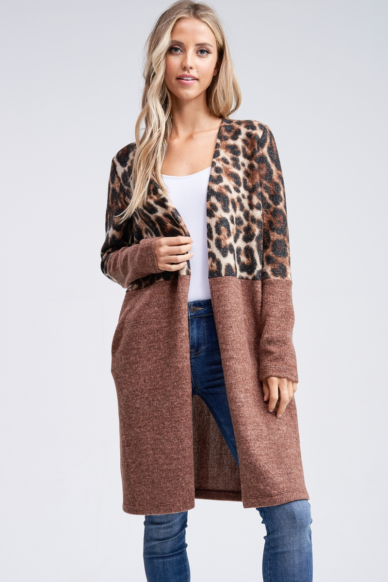 Cheetah Print Long Knit Cardigan  - orangeshine.com