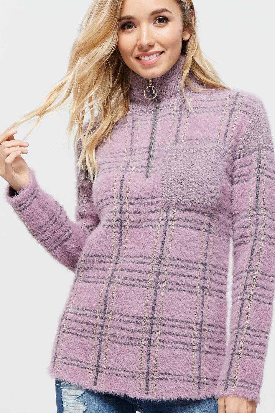 PLAID PULLOVER SWEATER - orangeshine.com