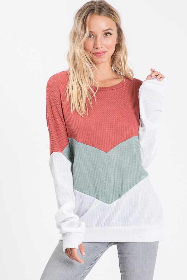 SWEATSHIRT WITH COLOR BLOCK PANELS - orangeshine.com