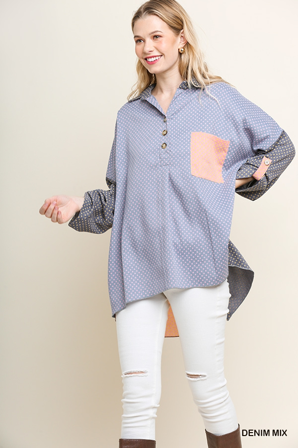 Polka Dot Color Block Collared Tunic - orangeshine.com