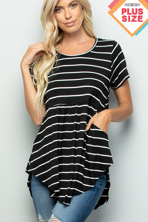 PLUS STRIPE PRINT BABY DOLL TOP - orangeshine.com