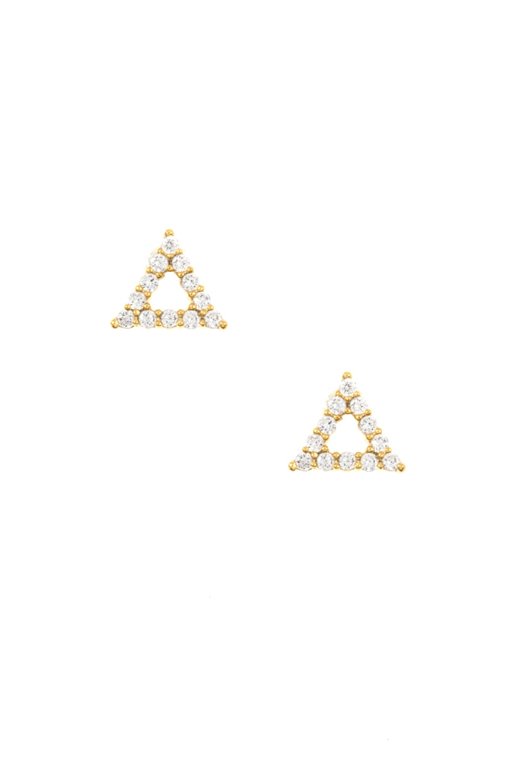 CZ Stone Triangle Cut Post Earring  - orangeshine.com
