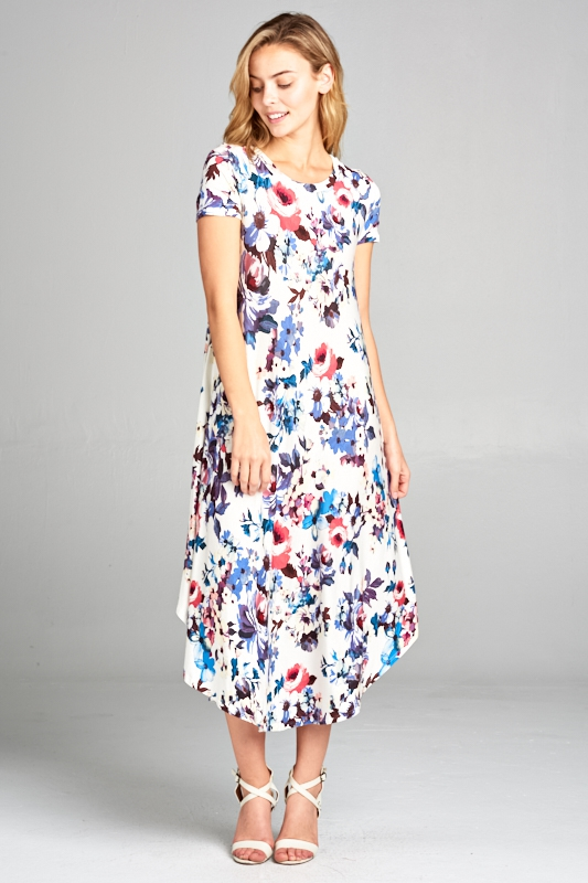 FLORAL SHORT SLEEVE SWING DRESS - orangeshine.com