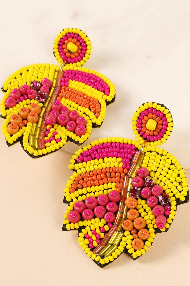 Tropical Leaf Seed Beads Earrings - orangeshine.com