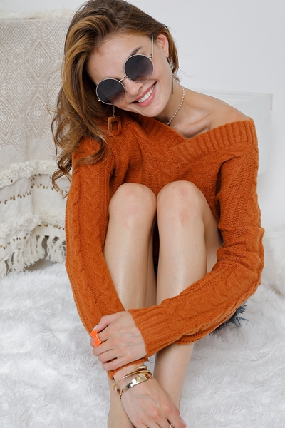 Solid V Neck Chunky Knit Long Sleeve - orangeshine.com