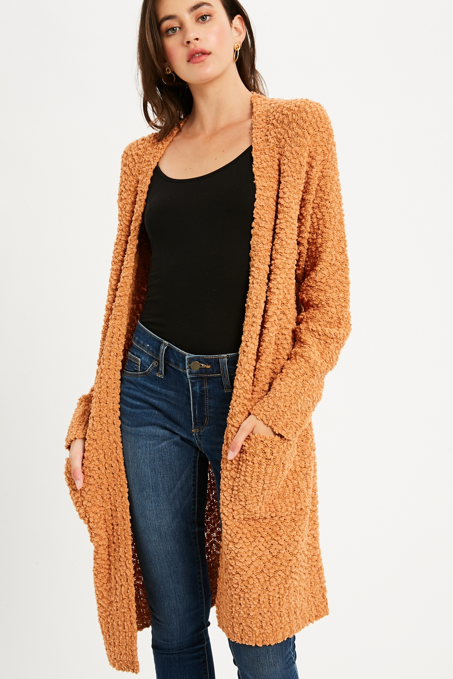 Boucle Comfy Open Front Cardigan - orangeshine.com
