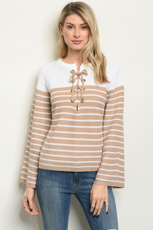Long sleeve lace up detail sweater - orangeshine.com