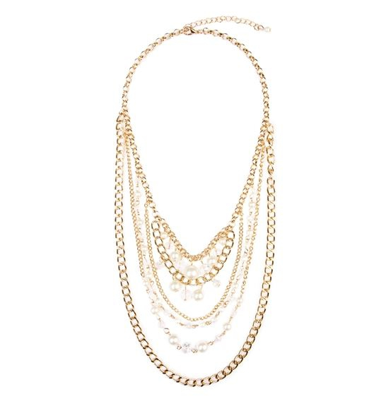 CHAIN LAYERED STATEMENT NECKLACE - orangeshine.com