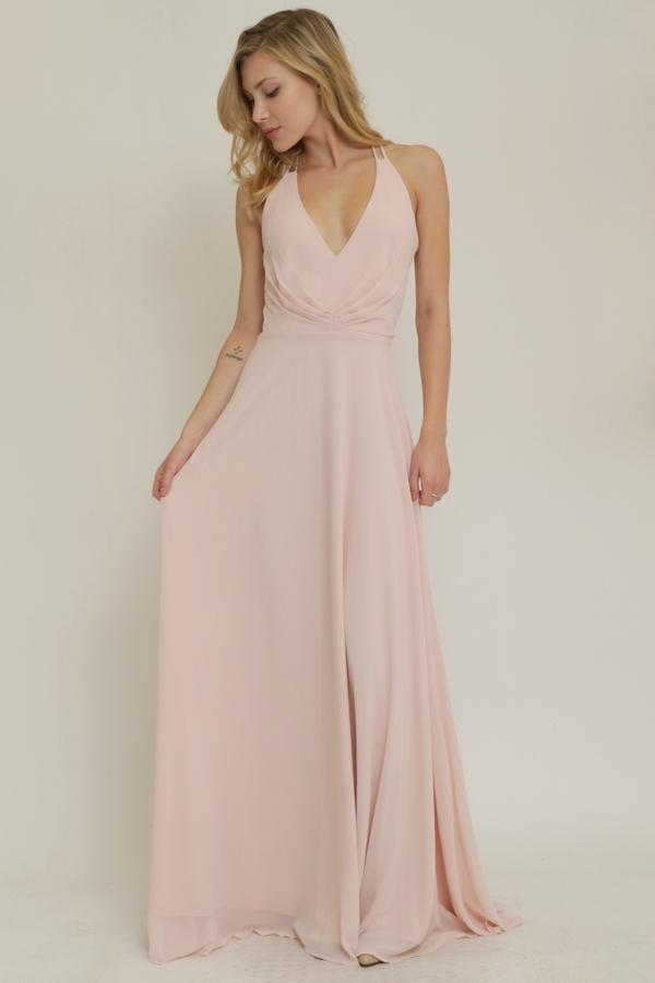 OPEN BACK CHIFFON LONG DRESS - orangeshine.com
