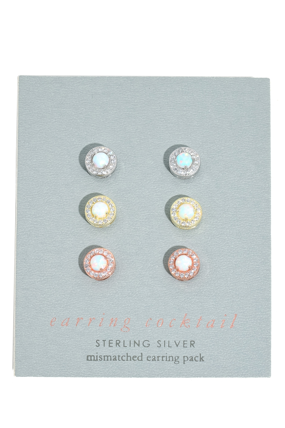 Triple Tone Sterling Silver Earrings - orangeshine.com
