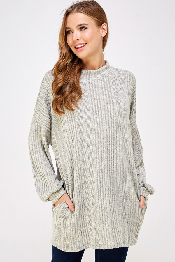 IRREGULAR BIB MOCK NECK TUNIC - orangeshine.com