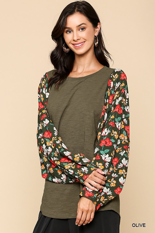 Floral Printed Dolman Sleeve Top - orangeshine.com