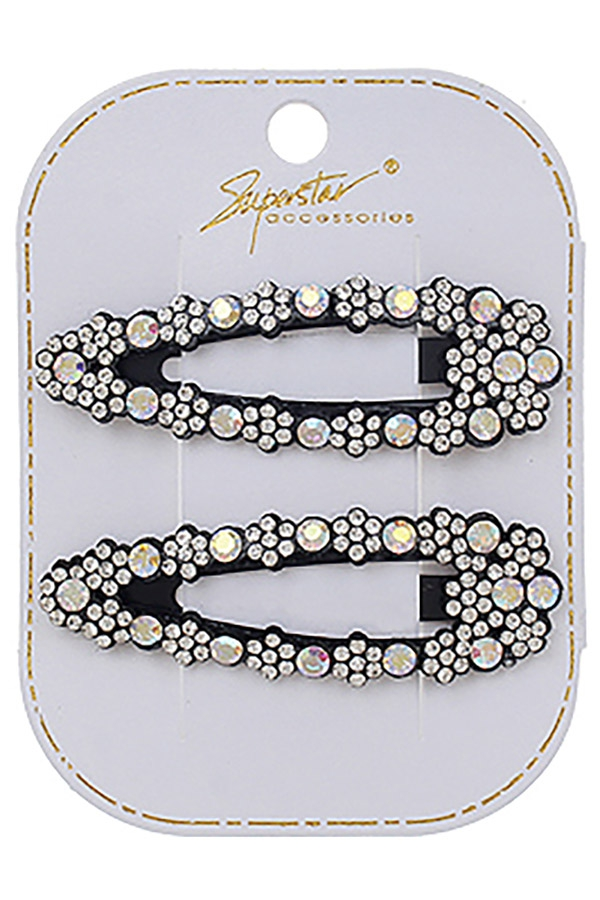 2-pc Rhinestone Hair Clip Set - orangeshine.com
