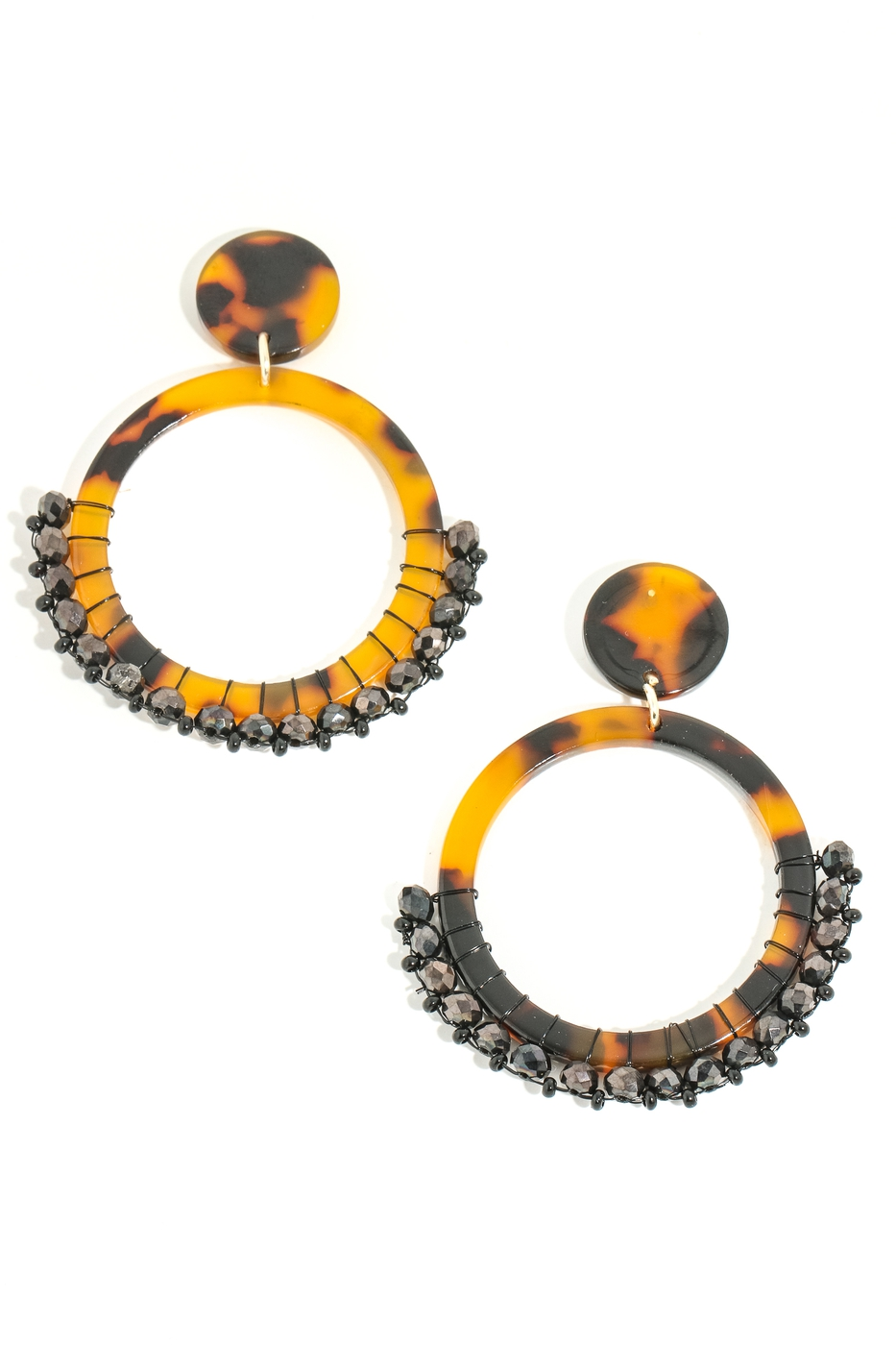 Acetate Hoop Drop Beaded Earrings - orangeshine.com