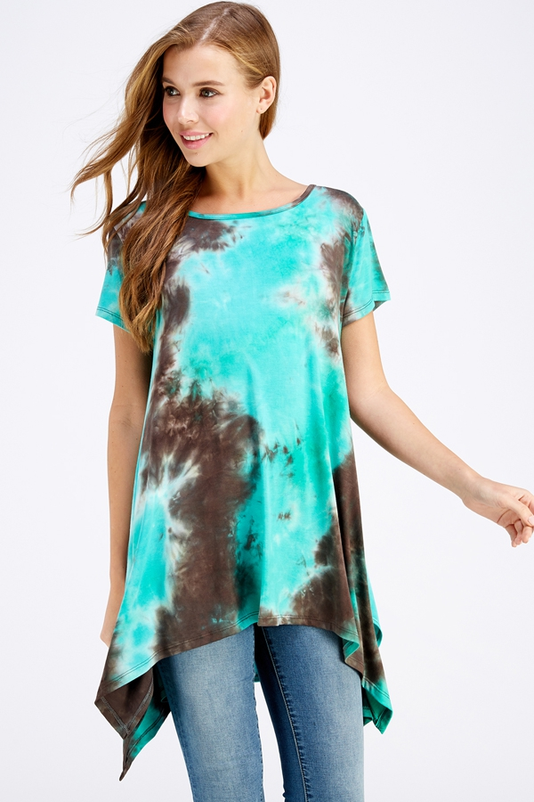 TIE DYE ASYMMETRICAL TUNIC PLUS - orangeshine.com