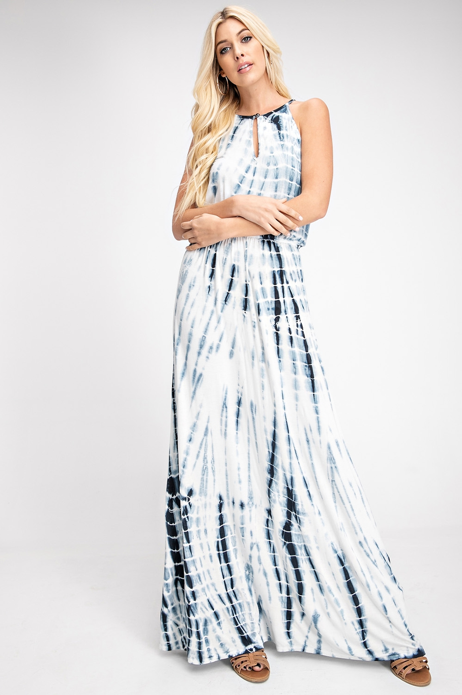 HALTER NECK, MAXI DRESS, TIE DYE - orangeshine.com
