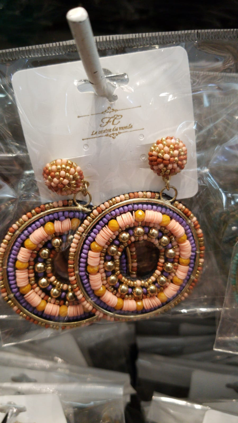 multicolor beads earring drop  - orangeshine.com