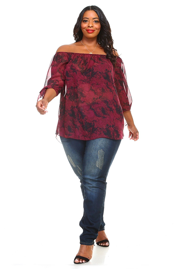 Tie-Dye Print  Off Shoulder Blouse - orangeshine.com