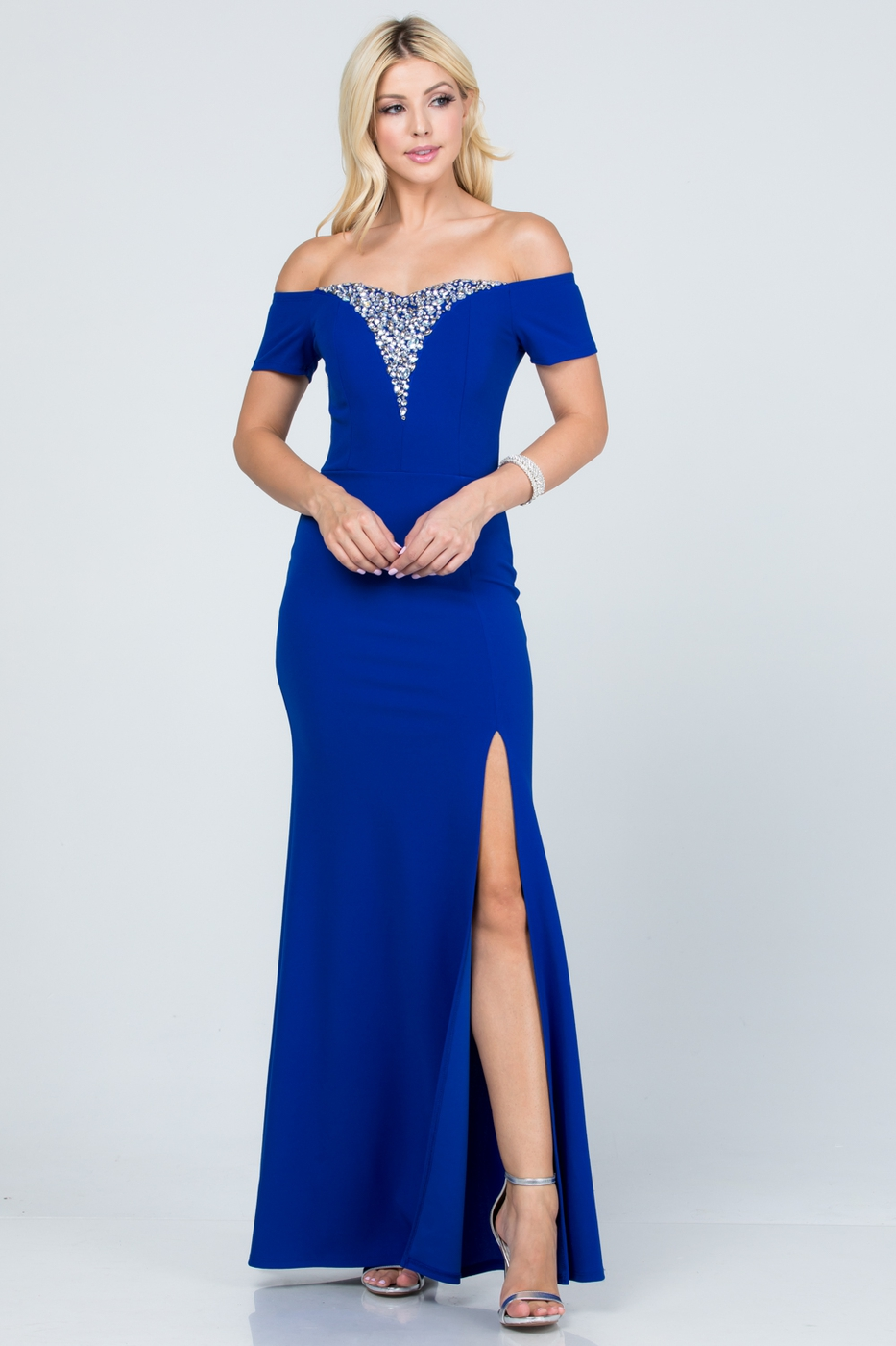 Off the shoulder side slit gown with - orangeshine.com