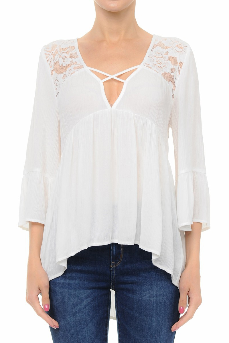 LACE INSET CAGED V-NECK EMPIRE TOP - orangeshine.com