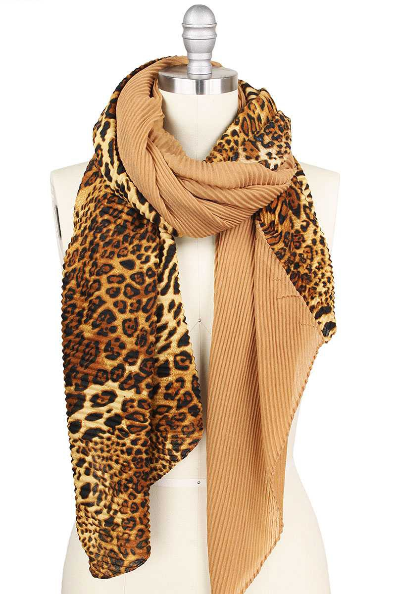 LEOPARD PRINT H AND H PLEATED SCARF - orangeshine.com