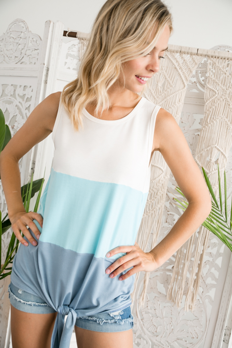 COLOR BLOCK FRONT TIE TANK TOP - orangeshine.com