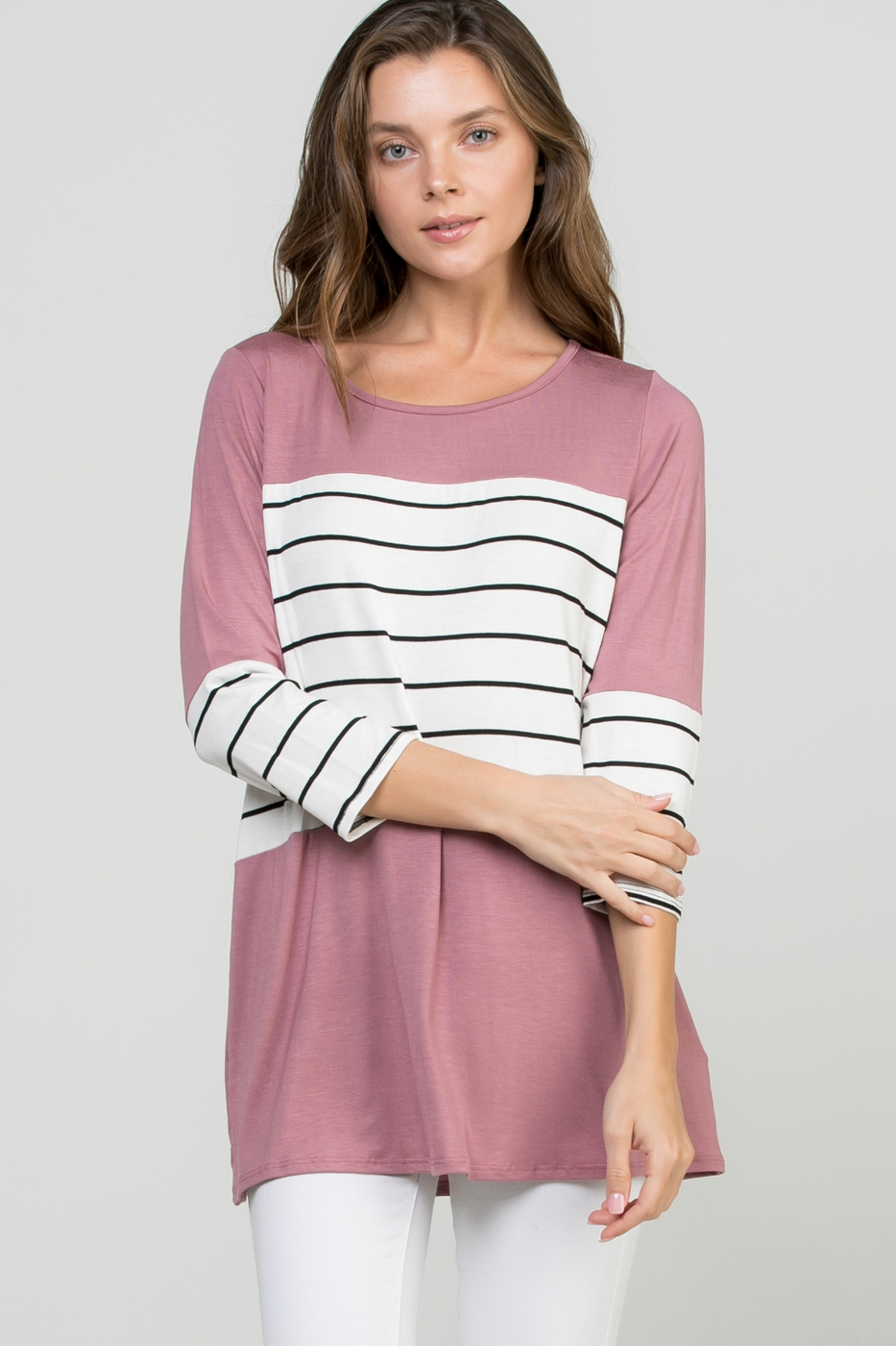 SOLID AND STRIPE PRINT TOP - orangeshine.com