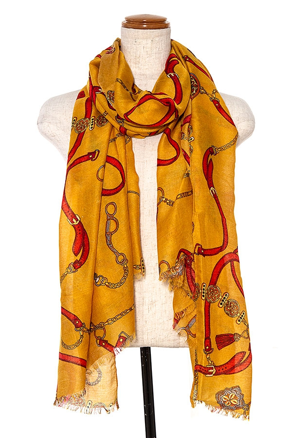 MIX PATTERN FRINGE TRIM OBLONG SCARF - orangeshine.com