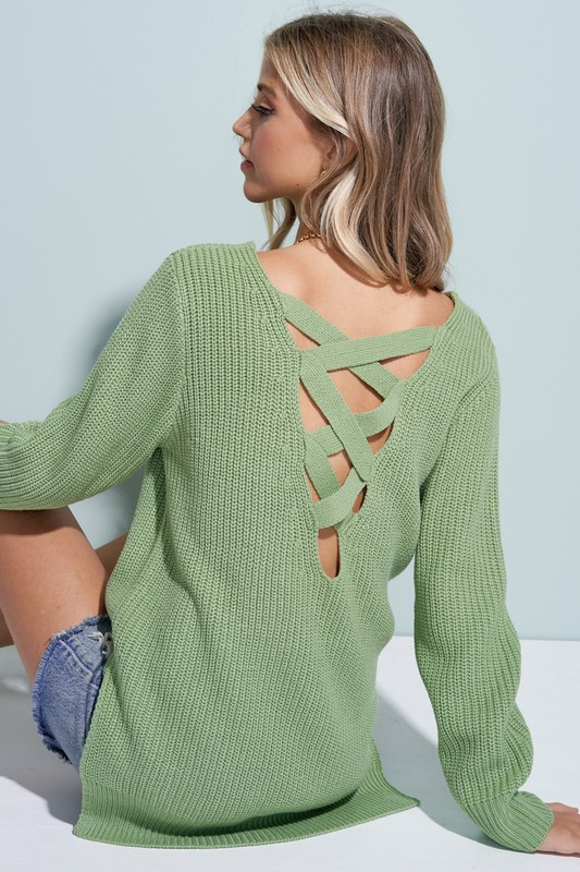 Criss Cross Back Pullover - orangeshine.com