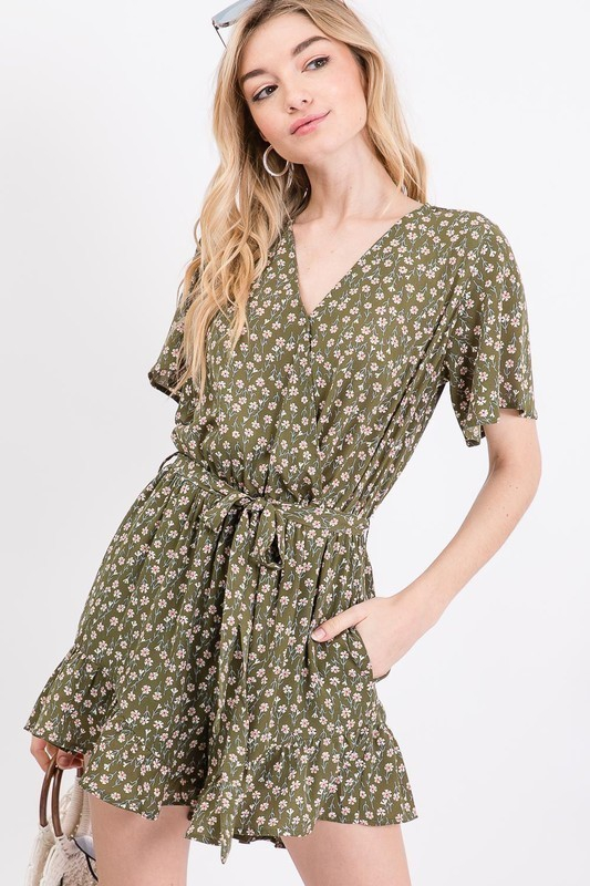 DISTY FLORAL SURPLICE WRAPPED ROMPER - orangeshine.com